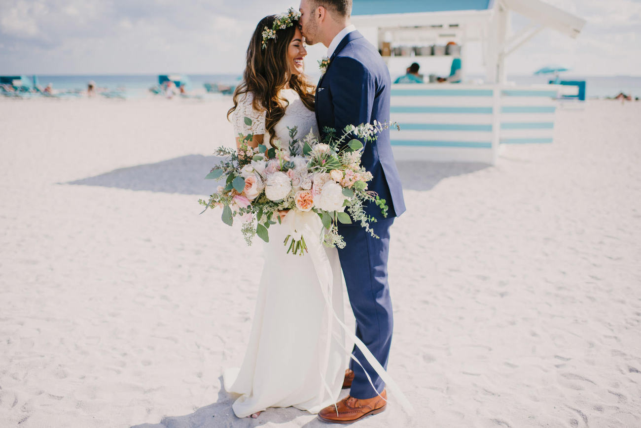 Tropical Rustic Beach Wedding At The Palms Hotel In Miami Fl